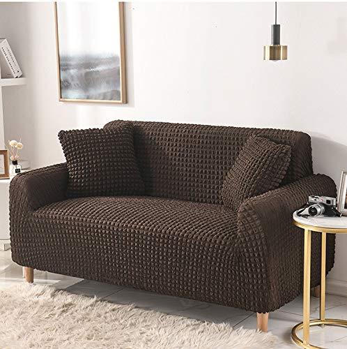 Funda de sofá elástica de color sólido para sala de estar, fundas seccionales de tela escocesa, funda de sofá, sillón y sofá (color: marrón oscuro, especificación: 2 plazas, 145 – 185 cm)