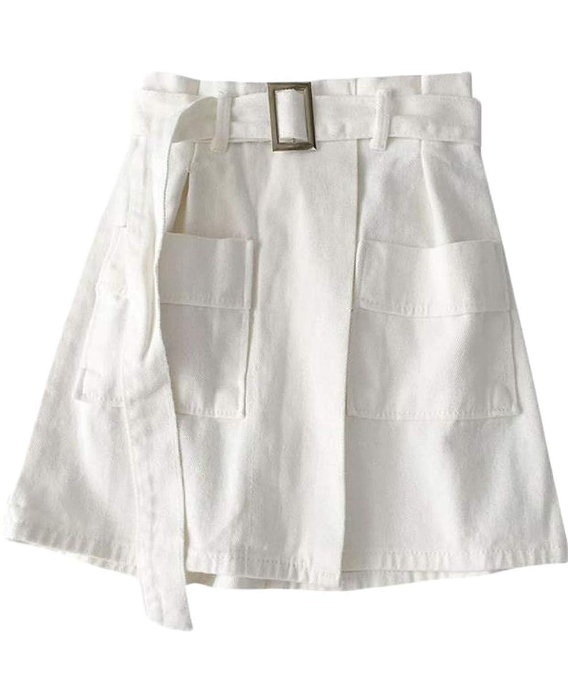 愚か酸保持する[エージョン] レディース デニムスカート ラップスカート ベルト付き Aライン 半身 ショート丈 夏服 ファッション