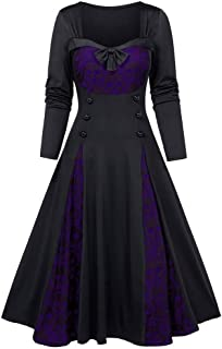 Women Plus Size Halloween Skull Lace Insert Mock Button Bowknot Dress