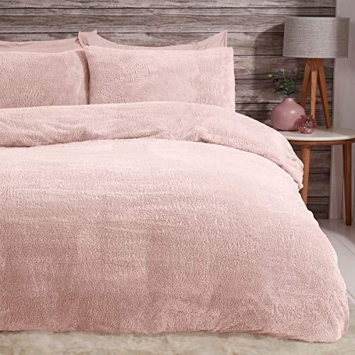 Sleepdown Juego de Funda de edredón y Funda de Almohada de Forro Polar con Fundas térmicas, cálidas y Suaves, súper ruborizadas, Color Rosa