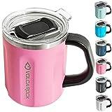 VOLCAROCK 16 oz Coffee Mug with Handle, 16oz Insulated Stainless Steel Reusable Coffee Cup, Double Wall Coffee Travel Mug, Keep Cold 6 Hours and Keep Warm 5 Hours (Pink)