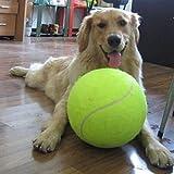 Alxcio Juguete para perros de mascotas, pelota de tenis, juguetes inflables de 9,5 pulgadas de gran tamaño gigante duradero bolas de tenis de goma para niños adultos grandes perros divertidos