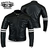 Bikers Gear UK GIACCA in PELLE da MOTO VINTAGE CUSTOM CAFE RACER TAGLIA XL
