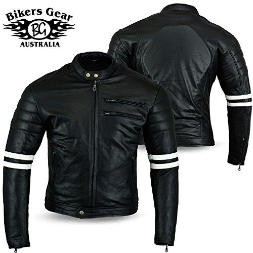 Australian Bikers Gear chaqueta moto Cafe Racer en color negro envejecido y...