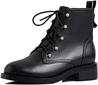 SF Boots and Booties for Women,Autumn and Winter Models Thick Bottom Flat Round Front Front with Thick with Retro Side Zip...
