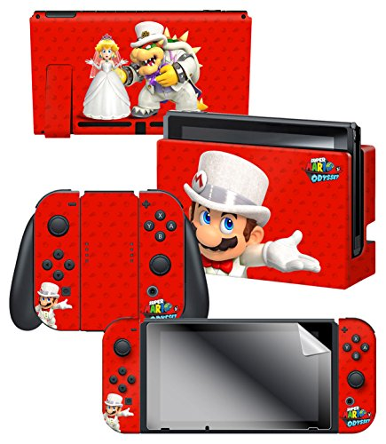 Controller Gear Nintendo Switch Skin & Screen Protector Set, Officially Licensed By Nintendo - Super Mario Odyssey
