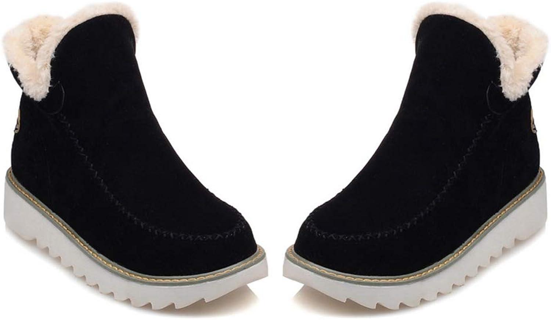 Warm Plush Snow Boots Women Winter Suede Non-Slip Flat Platform Slip On Ankle Boots Ladies shoes