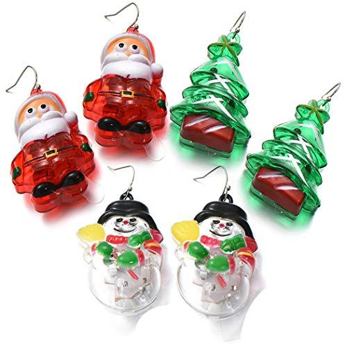 ZOYLINK Orecchini Pendenti Natalizi Accendi Orecchini Orecchini Pendenti Creativi Per Le Vacanze (3Pairs Multicolor)