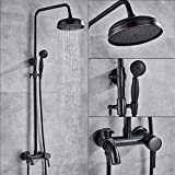 ZKYXZG Set de ducha Chrome Rainfall Shower Faucets Set Wall Mount Bathroom Shower System Single Handle 3-way Mixer Tap Bath Shower Mixers,Bronze Black B,China