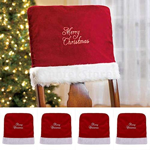 Topanke 4Pieza Santa Claus para sillas Gorro de Papá Noel 46x 40cm Gorro de Papá Noel Navidad Silla Cubierta de Gorro de Papá Noel Decoración