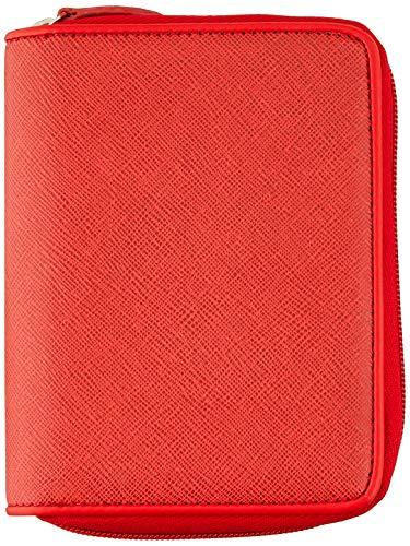 MIQUELRIUS - Agenda con anelli integrale, planner 2021 - copertina in similpelle incisa, chiusura zip, annualità settimanale, spagnolo, dimensioni 80 x 125 mm, colore rosso