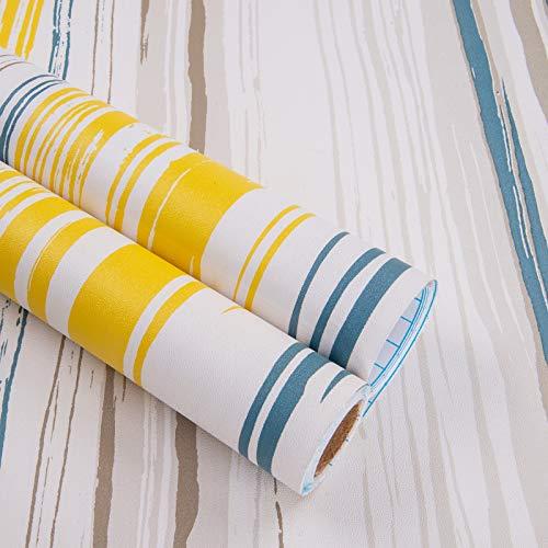 Möbelfolie Selbstklebend Bunt Streifen 45cmX5m Klebefolie für Möbel Wasserdicht Tapeten Küche Schrank Deko Folie Küchenschrank Möbelaufkleber Wohnzimmer TV Hintergrund Wand Schminktisch DIY Vinyl