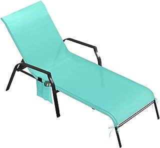 laamei Toalla de Microfibra para Tumbona de Playa o jardín Portátil Silla Cubierta con Bolsillo Toalla de Playa Grande Plegable como Bolso(215x78cm, sin sillón reclinable)