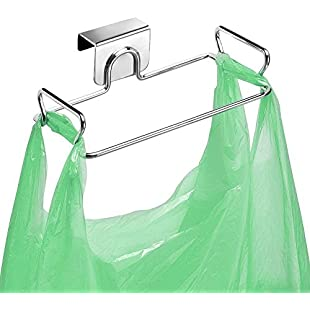 dingdangbell Stainless Steel Over the Cabinet Kitchen Storage Organizer, Trash Bag Holder for Kitchen Cabinets Doors and Cupboards