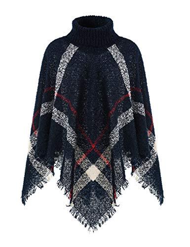 Ferand Warmer Weicher Karierter Damen Poncho-Pullover mit Kapuze oder Rollkragen, Rollkragen Version: Marineblau, Einheitsgröße (Beste Passform S-L)