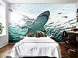 MuralesGrandes 3D Personalizados,Acuario Marino, Tiburón,Sala De Estar, Sofá, Tv, Pared, Dormitorio, Papel De Pared De Fondo-200 * 140Cm