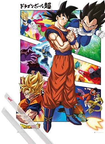 1art1 Dragon Ball Poster (91x61 cm) Dragon Ball Super, Panels Et Kit De Fixation Transparent