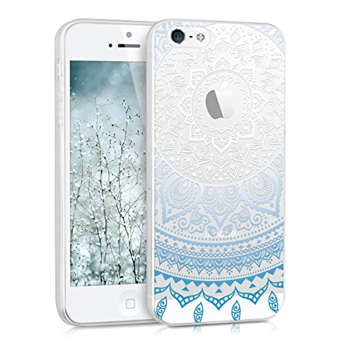 kwmobile Cover compatibile con Apple iPhone SE (1.Gen 2016) / 5 / 5S - Custodia in silicone TPU - Backcover protettiva cellulare Sole indiano blu/bianco/trasparente