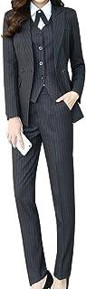 LISUEYNE Women's Three Pieces Office Lady Stripe Blazer Business Suit Set Women Suits Work Skirt/Pant,Vest Jacket