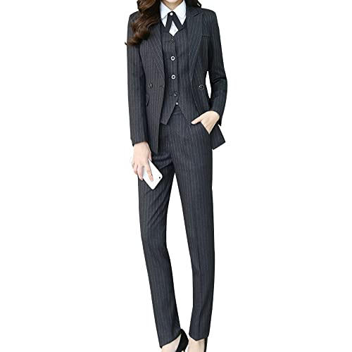 6786a59f Women's Three Pieces Office Lady Stripe Blazer Business Suit Set Women  Suits Work Skirt/Pant