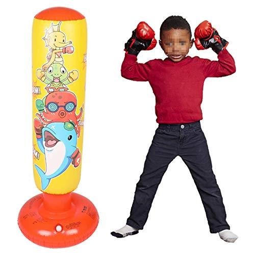 DUXIUYING Aufblasbarer Steh-Boxsack für Kinder zum sofortigen Zurückspringen Schwerer Boxsack zum Üben von Karate, Taekwondo, für Kinder Kleinkind Alter 5-10, Mit Boxhandschuhen