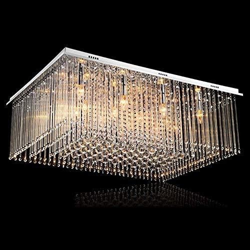 YANQING Duurzame Hanglamp Rechthoekige Kristallen Kroonluchter Afstandsbediening Dimmen Chroom LED Plafond Lampen Warm Licht Home Decoratie Woonkamer Eetkamer Slaapkamer 80 * 60 * 32cm Hanglamp