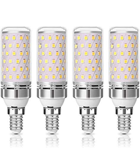KINGSO Lámpara LED E14 12W 1350LM no regulable 3000K blanco cálido E14 maíz en mazorca, lámpara de ahorro de energía iluminante - paquete de 4