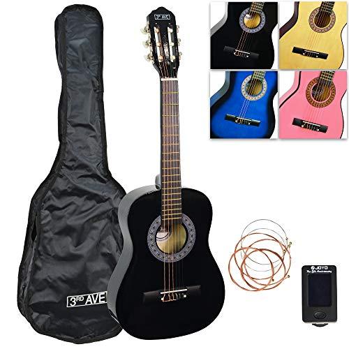 3rd Avenue Konzertgitarren-Set Junior in 1/2-Größe, in Schwarz, mit Tasche, Stimmgerät und Ersatzsaiten