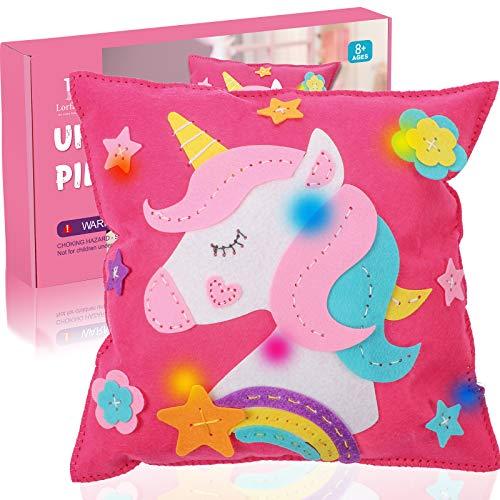 Tacobear Kit da Cucito per Bambini Cuscino Unicorno con Luci Giocattoli in Feltro Fai da Te Bambini Creativi Natale Compleanno Unicorno Regalo per Bambini 8 9 10 11 12 Anni