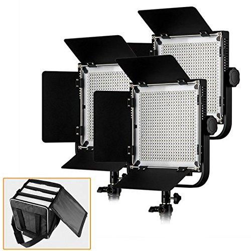 Gowe LED Video Studio lumière (lot de 3) haute IRC 90 + avec personnalisée Portable Sac de transport pour 3 lampes vidéo LED pour appareils photo reflex numériques