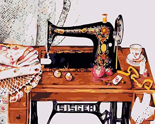 Digitale Schilderen door Getallen Kits Vintage Naaimachine Olieverfschilderij op Canvas Muurdecoratie voor Home Gift voor Nieuwe Accommodatie Bruiloft voor Volwassenen Kinderen Beginners