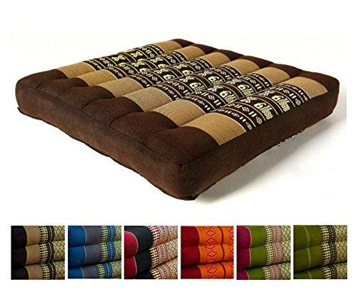 livasia Kapok Sitzkissen 35x35x6,5cm der Marke, optimal als Stuhlauflage oder Meditationskissen, Bodenkissen BZW. Stuhlkissen (braun/Elefanten)