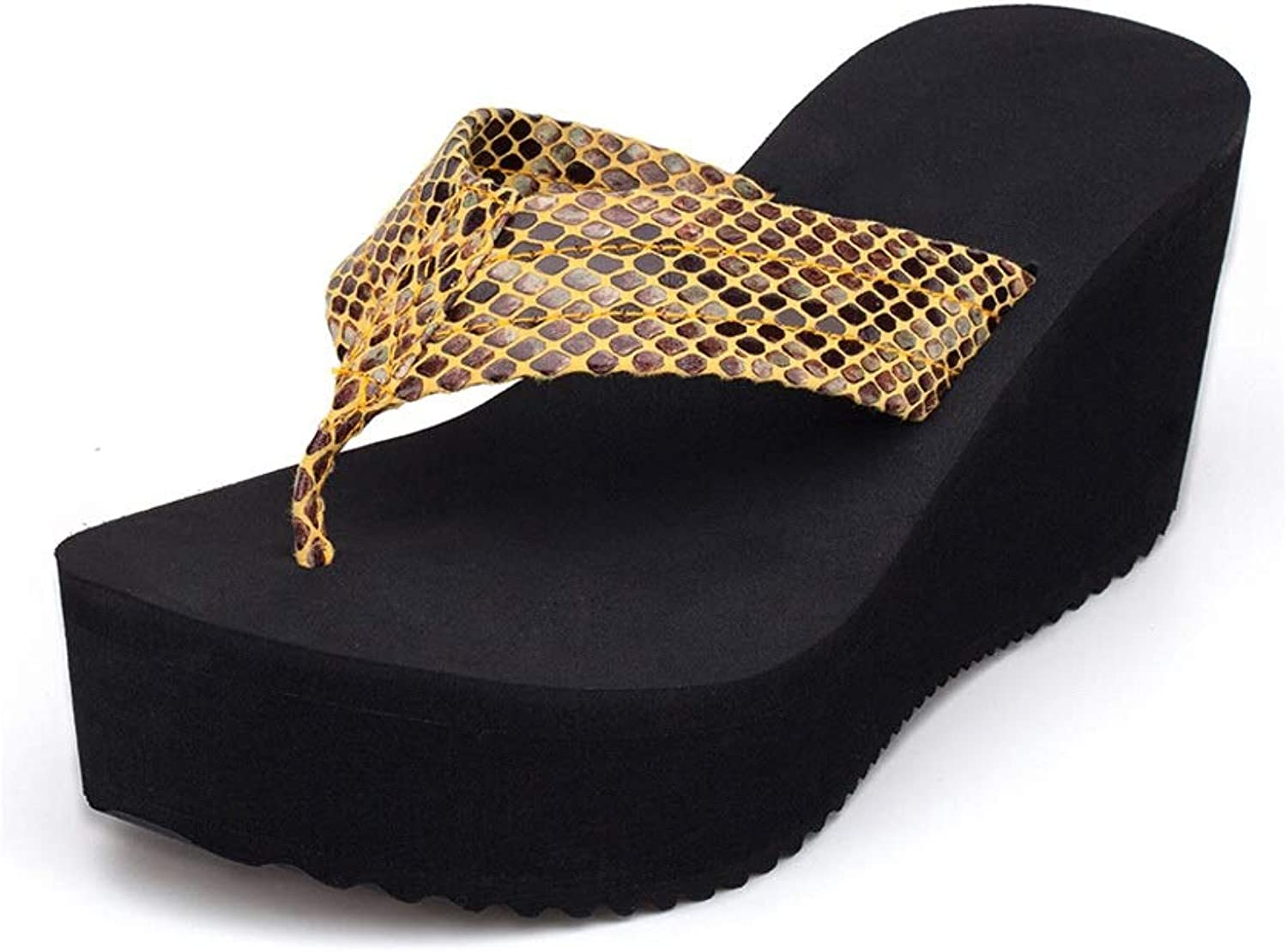 Fanxu Flip-Flops, Women's Summer High-Heeled Footrest Platform Anti-Skid Sandals and Slippers (3 colors 4 Yards) (color   Yellow, Size   5.5 US)