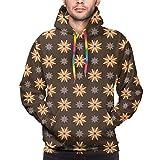 Men's Hoodies 3D Print Pullover Sweatershirt,Spring Summer Time Orange Flowers Kitchen Living Room Design Art Print,L