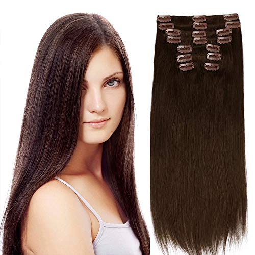 .Clip In Hair Extensions Remy Hair For Women Silky Straight Human Hair Medium Brown Clip In Hair Extensions Full Head 8pcs 18 Clips Double Wef