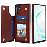 S-Tech Note 10 Case Leather Magnetic Card Slot Wallet Kickstand for Samsung Galaxy Note Models (Brown, Note 10)
