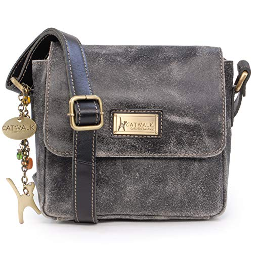 Catwalk Collection Handbags – Ladies Small Distressed Leather Cross Body Bag – Women's Messenger Organiser Work Bag – iPhone/Smartphone – SABINE S