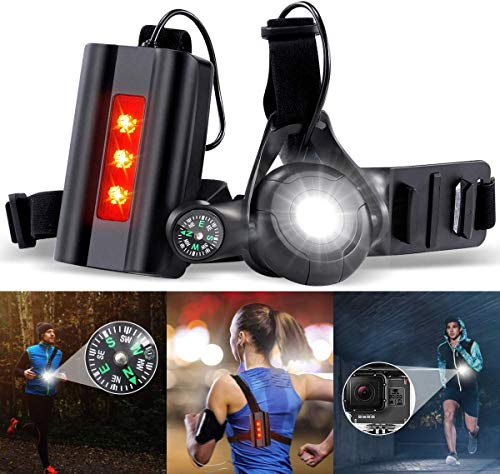 SGODDE Wiederaufladbare USB Running Light, 500 Lumen Lauflicht mit Kompass, 90° Einstellbarer Abstrahlwinkel, Verstellbarer Band, Brust Lampe mit Warnen- Rotlicht, Leicht und Bequem