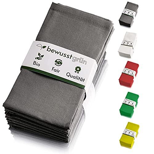 BewusstGrün I 12 tovaglioli in tessuto sostenibile, grigio I 100% cotone biologico I 45 x 45 cm