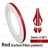 AutoXpress | 1/8' 3mm Carbon Fiber Red Roll Pinstriping Styling Trim Coachline Pin Stripe Self Adhesive Line Car Motorcycle Truck Bike Model Vinyl Tape Decal Stickers | 32 ft 9.80m