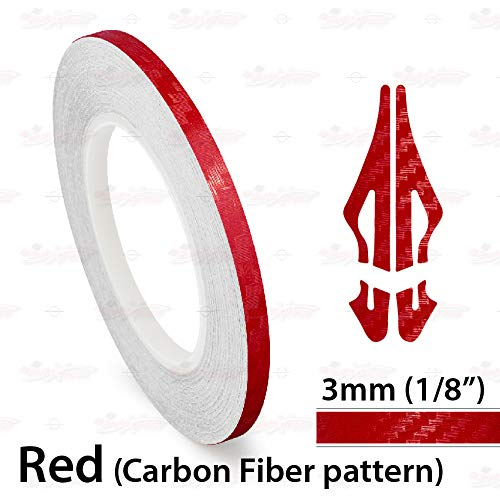 AutoXpress   1/8' 3mm Carbon Fiber Red Roll Pinstriping Styling Trim Coachline Pin Stripe Self Adhesive Line Car Motorcycle Truck Bike Model Vinyl Tape Decal Stickers   32 ft 9.80m