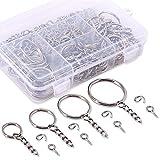 Swpeet 300Pcs Sliver Key Chain Rings Kit, 100Pcs Keychain Rings with Chain and 100Pcs Jump Ring with 100Pcs...