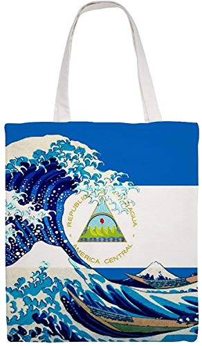 MODORSAN Bolso de mano de lona con bandera y ola de Nicaragua, bolsos de tela reutilizables para compras de comestibles, bolsos de mano con impresión a doble cara
