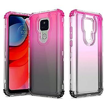 Shinewish Cell Phone Case for Motorola Moto G Play 2021 3 in 1 Heavy Duty Shockproof Bumper Full Edge Hybrid Cover for Women Girls Men Hot Pink/Black Gradient