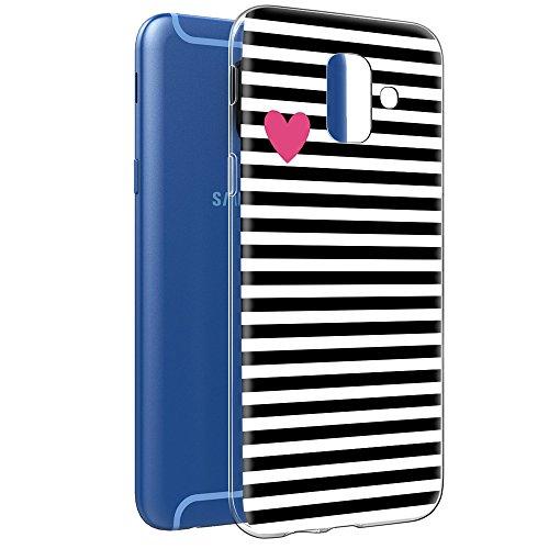 Cover Samsung Galaxy A6, Eouine Custodia Cover Silicone Trasparente con Disegni Ultra Slim TPU Silicone Morbido Antiurto 3d Cartoon Bumper Case per Samsung Galaxy A6 2018 5,6 Smartphone (Stripe nero)