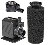 Spaces Places DP430 Pump for Ponds, Fountains, Gardens, Aquariums, Statuary, or Small Water Displays 8'2-16' Power Cord and Foam Pre-Filter, 8.2' Max Height, Black