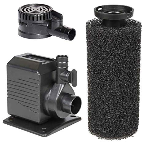 Beckett Corporation DP400 400 GPH Pump for Ponds, Fountains, Gardens, Aquariums, Statuary, or Small Water Displays 8'2-16' Power Cord and Foam Pre-Filter, 8.2' Max Height, Black