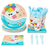 Beach Party Supplies, Paper Plates, Napkins, Cups and Plastic Cutlery (Serves 24, 144 Pieces)