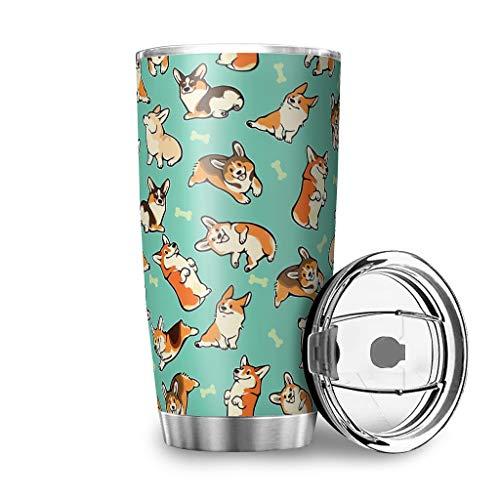 MiKiBi-77 Corgi Tumbler - Taza de café de acero inoxidable aislada al vacío para adultos y adolescentes y niños, color blanco 20 onzas
