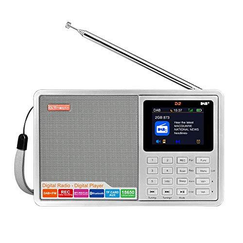 GT MEDIA D2 Dab+ y FM Radio Digital Portátil Radio Recargable (Rec, RDS, Bluetooth, Tarjeta TF, AUX-IN, Batería Recargable 18650, Alarma/Temporizador de Reposo) Pantalla LCD en Color de 2,4 Pulgadas